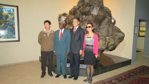 From left to right, Ren Fu Li, Vice President: An Anhui Foreign Economic Construction (Group) Co, Cllr J. Nangolo, H.E. Xin Shunkang, Chinese Ambassador to Namibia and Ms Yu Xiaofeng, general manager of Sogecoa Zambia Ltd, at the largest crystal in the world.