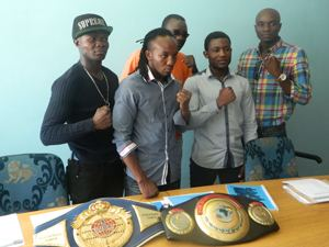 "Some of the members of the Warriors Promotions board from left Tommy 'Show"" Nakashimba, Joseph ""Smokey"" Hilongwa, Ludwig Haimbodi: Warriors Promotion Chairman and Andrew Hilunaye (Photograph by Musa Carter)"