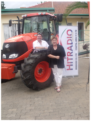 Etienne Lubbe, Managing Director of the Lubbe Motor Group with Reinette Koegelenberg, Chief Executive Officer of the Cancer Association, introducing one of the tractors that will make the trip from Windhoek to Swakopmund to raise funds for Children with Cancer. (Photograph by Mandisa Rasmeni)