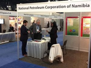 NAMCOR's Exploration & Production Asset Manager, Victoria Sibeya responding to an American businessman interested in Namibia gas and oil exploration activities at the North American Prospect Expo, in Houston Texas.