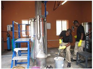 Workers at the new Oil Distillation Facility in Opuwo