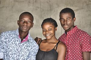 Recipients of the 2014 Swakop Uranium bursaries, from the left, Simson Simon, Catherine Shifotoka and Immanuel Matheus are all studying at the University of Namibia's northern campus in Ongwediva.