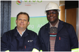 Vivo Energy Namibia MD, Johan Grobbelaar (left) accompanying the Permanent Secretary in the Ministry of Mines and Energy, Kahijoro Kahuure on a tour of Vivo's fuel storage facility in Windhoek.