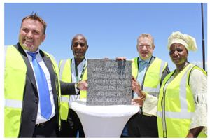 Wessie van der Westhuizen, MD of Namibia Breweries Limited (NBL); Deputy Director: Renewable Energy in the Ministry of Mines and Energy, Noddy Hipangelwa; Sven Thieme, Executive Chairman of the Ohlthaver & List Group of Companies; and the Mayor of the City of Windhoek, Agnes Kafula.