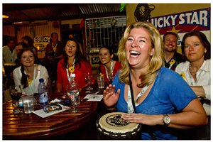 A drum workshop by Drum Café created endless entertainment for the German travel agents. (Photograph Judy & Scott Hurd)