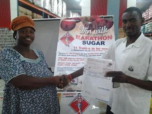 Frieda Amakushu bought Marathon Sugar in Ondangwa just to be able to enter the popular trailer competition run at Woermann Brock Hyper Stores.