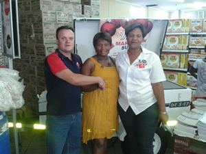 Wilemiena Awases never thought she would actually win one of the trailers when she bought her Marathon Sugar from Woermann Brock Hyper Store in Grootfontein.
