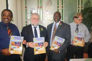 Chairperson of NMA Brian Black, Minister of Trade and Industry, Hon.Calle Schlettwein, Deputy Minister Hon Tjekero Tweya and the CEO of NMA Ronnie Varkevisser, at the launch of the Manufacturing and Processing Directory 2014.