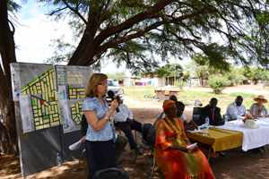 The Ambassador of Spain, H.E. Carmen Díez (left), spoke to residents of Freedom Square in Gobabis during the closing ceremony of an active workshop that considered a strategy to turn the informal settlement into a proper township.
