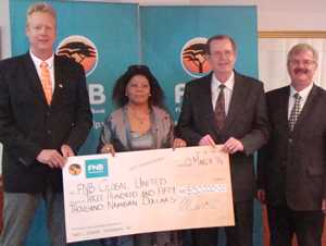 Harald Hecht, Chairman of Global United, Clara Bohitile, trustee of FNB Foundation, Ian Leyenaar, CEO of FNB Namibia and Dixon Norval, Head of Strategic Marketing and Communications at the bank.