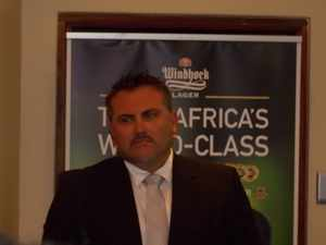 NBL Managing Director, Hendrik van der Westhuizen during the interim results. (Photograph by Musa Carter)