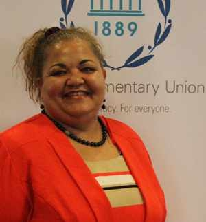 Hon Margaret Mensah-Williams who has been elected President of the Coordinating Committee of Women Parliamentarians for a two-year term, at the 130th session of the Inter-Parliamentary Union (IPU), held in Geneva, Switzerland.