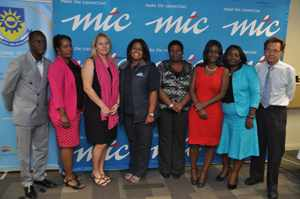Pictured with Tim Ekandjo of MTC, are from the left, Jacky Kaverua a bursary recipient, Jessica Moore, Manager Employee Development, Lilian Wolman, Maggy Namundjebo, Saara Ndashe all internal bursaries recipient and Dr Gert Günzel, Vice Rector Finance and Administration at the Polytechnic. MTC gave bursaries to the value of N$700,000 to 19 Namibians of which four are undergraduate students at the Polytechnic studying Telecommunications and Electronic Engineering, while the remainder are employees of MTC who benefit from the internal bursary programme to help them with advanced studies in various fields.