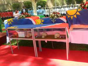 Four skulls that were repatriated to Namibia from Germany on display for viewing by the public at Parliament Gardens. The remaining skulls in the box could not be opened for viewing because traditional rituals had not been performed yet to appease the spirits.