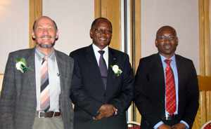 (f.l.t.r.) Prof Andre Du Pisani, Chairperson of the National Commission on Research, Science and Technology, Hon. Dr. David Namwandi, Minister of Education and Dr Eino Mvula, CEO of the new Commission.