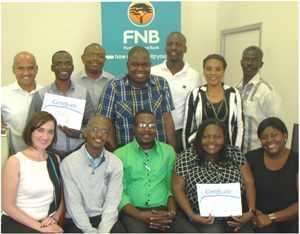 Front row from left to right: Christine Burrows (FNB South Africa), Ogone Tlhage  (Economist), Jafta Tjihimino (NBC), Maggy Thomas (NAMPA), Vicky Muranda (FNB Namibia). Back row from left to right: Francios Olivier (One Africa Television), Timo Andreas (NBC), Professor Nixon Kariithi (Tangaza Africa Media), Marco Ndlovu (Base Fm), Kuze Tjitemisa (New Era), Truly Xamises (Prime Focus), Francis Xoagub (Observer)