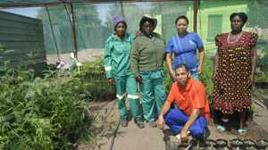 Hendrik Vissagie, a Forest Technician in the Directorate of Forestry in Mariental with the staff of the Mariental tree nursery from left; Maria Kaffer, Sarah Iipinge, Nelao Shakondjove and Mathilde Johannes.(Picture by: Hilmah Hashange)