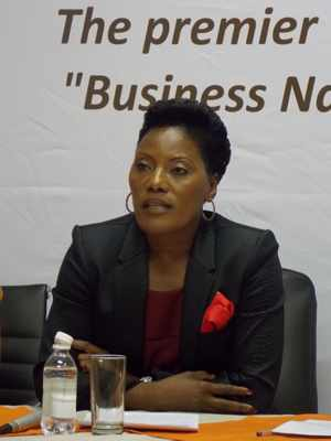 On a mission: NCCI's first media briefing of the year with , the president of NCCI, Martha Namundjebo-Tilahun (Photograph by Musa Carter)