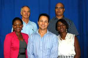 New Town Planner Board: Front Left – Hilia Hitula (Vice President), Edwin Thornley (PR Officer), Petrine Moongela (President). Top Left – Hennie Fourie (Treasurer) and Harold Kisting (Secretary)