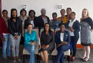 "Duke CE trained ten women for their ""Women Leading Africa 'Board Leadership- Voices of the Future'"" programme in Windhoek last week. The women who attended the training together with the facilitators from Duke CE and Oxygen Communications (Photograph by Mandisa Rasmeni)"