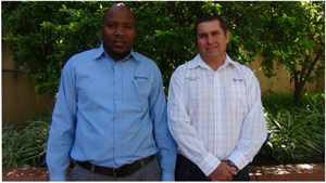 Herman Coetzee (right) of Standard Bank's Agriculture Division and his colleague, Gerhard Mukuahima, the bank's Agricultural Advisor.