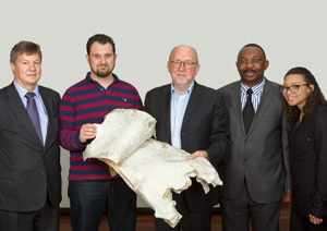 Top white Swakara pelts – Dr Malan Lindeque, PS of MTI, Mr Michaelis Konstantinou of Konstantinou Furs from Greece, Torben Nielsen, CEO of Kopenhagen Fur, Mr Joseph Iita, PS of MAWF and Nikola Conradie, winner of the 2013 Swakara – Namibian Young Designer Awards