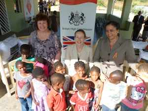 British High Commissioner H.E. Marianne Young presenting a substantial donation to Hope Village in order to improve living conditions of orphaned and vulnerable children