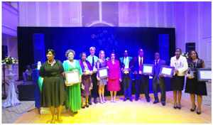 Dr Stergomena Lawrence Tax with the winners of the SADC Annual Quality Award 2014: From left: Representatives of Avenues Clinic, Hangana Seafood, Integrated Properties, FUNAE Fundo de Energia and Meatco Namibia