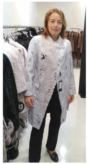 Dagmar Honsbein, Agra ProVision's General Manager, modelling a very exclusive coat of white Swakara