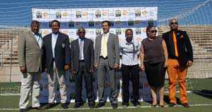 Present at the launch were; Namibia Football Association Secretary, Barry Rukoro; Namibia Football Association President, Mr John Muinjo; a representative ITACS sports; the official agency company in charge of TV and Marketing rights of the CAF competition Mr Salah Ben Meftah, the Vice-Chairperson of Local Organising Commitee, Mrs Jacky Gertze and The Managing Director of Telecom, Mr Frans Ndoroma. (Photograph by Comfort Ajibola)