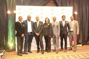 Olavi Hangula, Sydney Gareb, Perry ArmandoNdapewa Hangula, Calista Gowases, Neville Andre, and Armas Amulaniya at the 20th National Youth Council celebrations gala dinner held on 23 April. The event was attended by stakeholders and prestigious individuals, including the Minister of Home Affairs and Immigration, Hon Pendukeni Livula Lithana, MP. The event also saw the unveiling of the Youth Card.