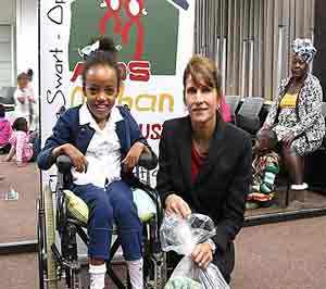 Bundle of joy, Kesha Barman (left), a young resident of the Bishop Kameeta Kindergarten, recently met benefactor, Dr Christina Swart-Opperman, founder of the CSO Aids Orphans Trust, in person.