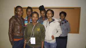 The promoters of Adult Literacy in Education from Stampriet in the Hardap Region are from the left: Jolanda Garises, Jeneveth Garises, Ronell Khaxas, Olivia Gaoses, Roseline Swartbooi and Jennifer Streidwolf. (Photograph by Hilmah Hashange)
