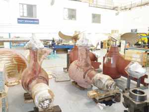 Rolls-Royce ship propellers in the process of being serviced by EBH Namibia