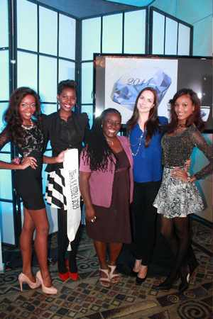 Standard Bank Namibia's PR and Communications Manager Surihe Gaomas-Guchu (middle) posing with the previous Miss Namibia beauties. Standing from (l to r) are Paulina Mululu 2013, Happy Ntelamo 2009, Marelize Roberts 2008 and Tsakana Nkandih 2012.