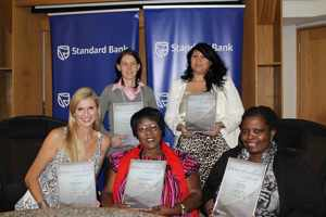 Clockwise, Esme' Coetzee (back left) Lize Ehlers, Patricia Sola, Regina Kondombolo and Michelle McLean, were the finalists in last year's Women of Excellence awards. Nominees must head or support a charity to qualify.