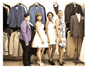 Olivia Kanyemba-Usiku (right) and her team of dedicated fashion designers and seamstresses.