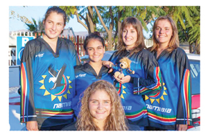 The Kamikaze Inline Hockey team that was drafted in the national team and will represent the country at the championships; Pia Thude, Cayman Haberl, Daniela Thiem, Maike Thiem and Yentl Skolnic