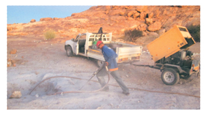 A Small Scale Miner mining for precious stones. (Photograph by Erongo Regional Small Scale  Miners Association)