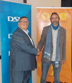 (L-R) Roger Gertze, General Manager of MultiChoice Namibia and Madryn Cosburn, Interim Managing Director of One Africa Television at the launch of One Africa Television on DStv.(Photograph by Mandisa Rasmeni)