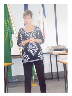 Joyce Meyer thanking her Namibian followers for inviting her. She said she is looking forward to help bring revival to the nation. (Photograph by Mandisa Rasmeni)