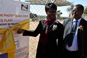 Director within the Ministry of Mines and Energy Selma-Penna Utonhi and NamPower Managing Director Paulinus Shilamba at the opening of the on-grid solar power plant at the Usib settlement in the Rehoboth district.