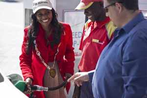 The Mayor of Okahandja, her worship Valerie Aron fills up her car at the new Shell Okahandja Truck Stop while Vivo Energy Namibia Managing Director, Johan Grobbelaar makes sure the pump gauge is calibrated correctly.