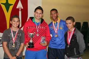From boys to men: Boys U18 Singles finalists . From left to right,  Dietrich Möwes, Darren Strauss, Conwin van Wyk, Aldrin Goliath.