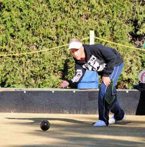 Not just your ordinary teen: Carel Olivier in action during the bowls tourney were he dominated