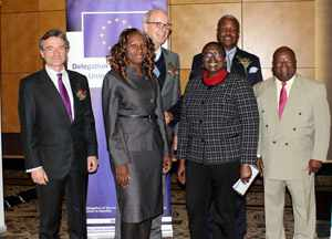 From the left, Ambassador Raul Fuentes Milani of the European Union Delegation, Ms. Esther Lusepani, Deputy PS in the Ministry of Land Reform and Resettlement, German Ambassador Onno Hückmann, Mrs. Lidwina N. Shapwa, Permanent Secretary in the Ministry of Lands and Resettlement, Hon Alpheus G. !Naruseb, Minister of Lands and Resettlement, and Ambassador Leonard Iipumbu, the CEO of Agribank.
