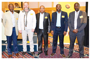 Renaissance Health Medical Aid Fund elected new trustees at its recent AGM. They are, from the left, Benny Amuenje, Abri Nel, Gabriel Tjombe, Omlavi Hamwele, Ambrosius Kandjii, Esther Andima and Bernard Grové.