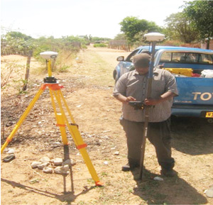 Gibson Marwa on duty gathering spatial data. Marwa said when he started his career he never dreamed of heading to Namibia where, one day, he will own his own land surveying company.