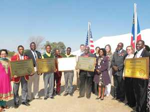 The principals of the five upgraded schools in the Kavango West region that were handed to the education ministry last week. Each principal received a plaque to commemorate the transfer from NCA Namibia to the Ministry of Education.