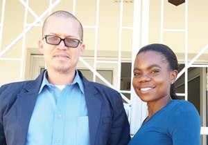 Albin Jacobs and Elina Ndengu, the SBS Namibia registration team.